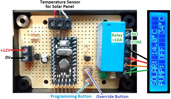 solar pump controller for swimming pool heating with datalogger and lcd display