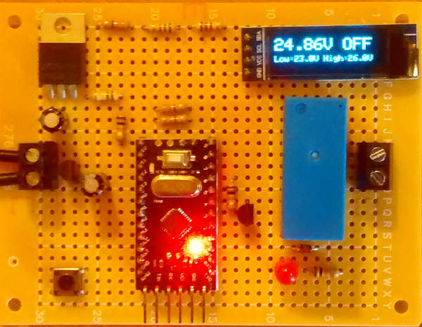 24 volt low voltage disconnect with OLED display and 10A relay