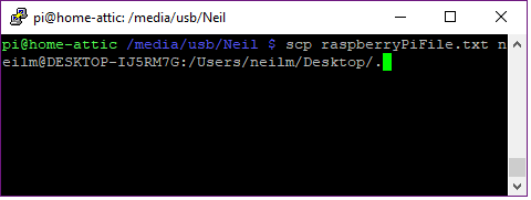 copying a file from a raspberry pi to a windows PC with SCP