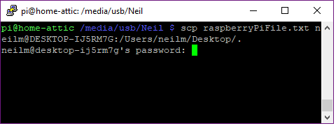 enter windows password to complete scp file copy
