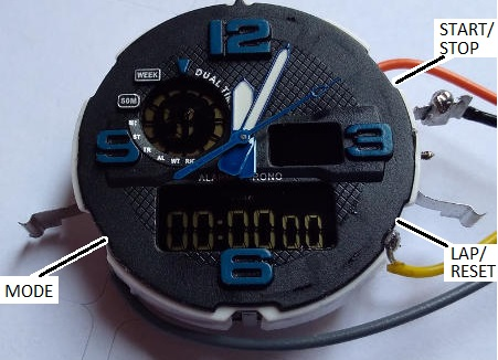 Modified digital watch used as stopwatch with remote buttons or relay control