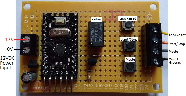 relay board to control a stopwatch for timing arduino projects