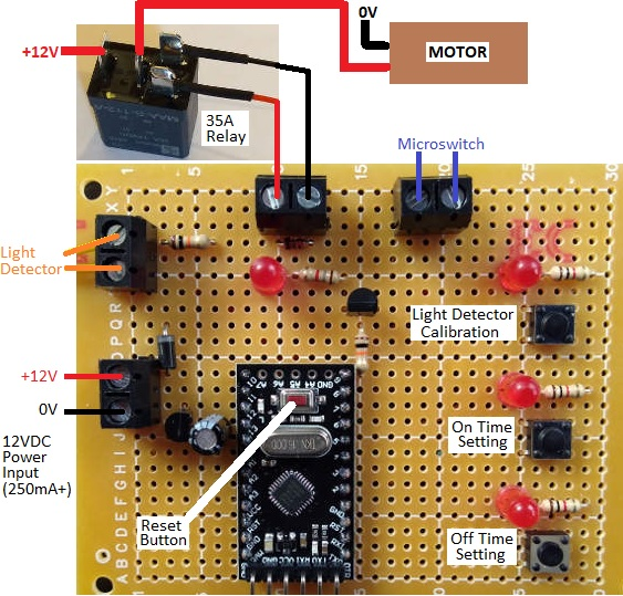 Timer Controller board to automatically run a motorised scarecrow